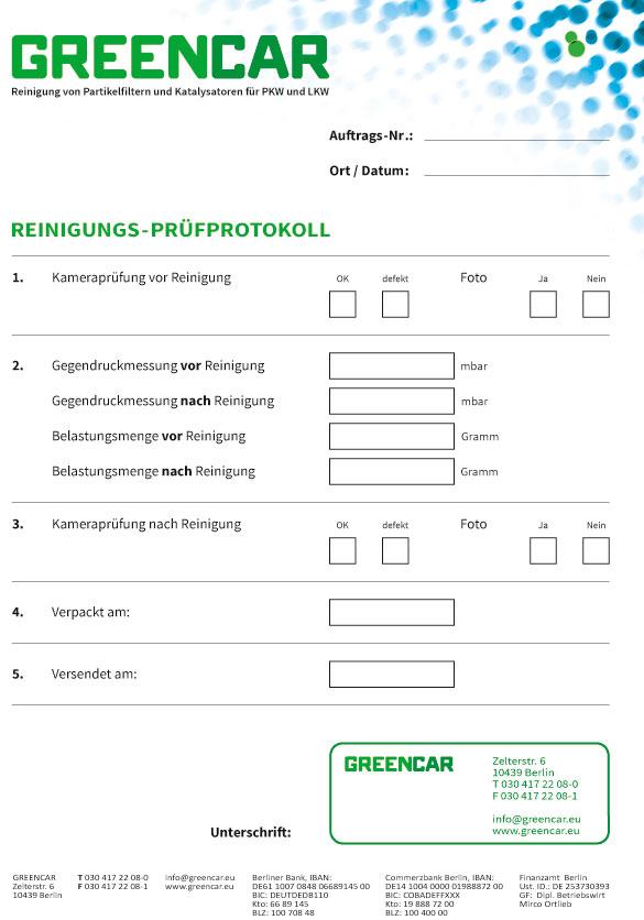 PKW Filterreinigung Protokoll